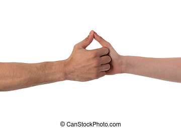 Two hands holding each other isolated over white
