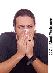 Influenza and stuffy nose - sick man has Influenza and...