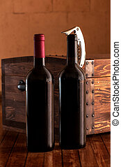Wooden case with bottles of wine