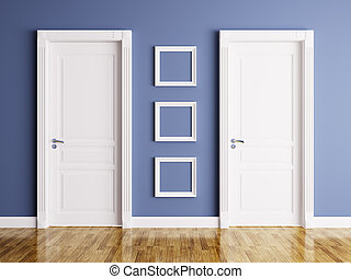Interior with two doors and frames - Interior of a room with...