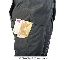 Closeup of Businessman with money in his pocket