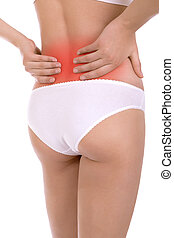 Pain in the back - Rheumatism. Pain in the back, a woman...