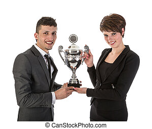 Businesswoman has won a trophy