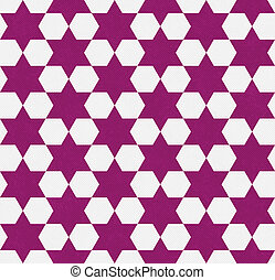 Dark Pink and White Hexagon Patterned Textured Fabric...