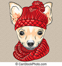 vector cartoon hipster dog Chihuahua breed smiling - color...