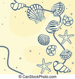 Seashell card. Abstract background.