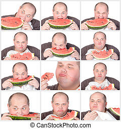 Collage portrait obese man eating a large slice of fresh juicy watermelon isolated on white