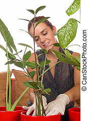 woman putting plant in a flowerpot