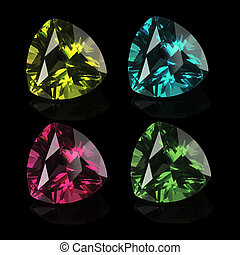 gems isolated on a black background - Bright gems isolated...