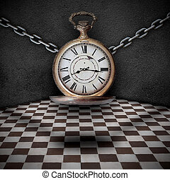 trapping time - concept of trapping time, a clock tied with...