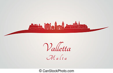 Valletta skyline in red and gray background in editable...