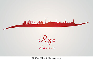 Riga skyline in red and gray background in editable vector...