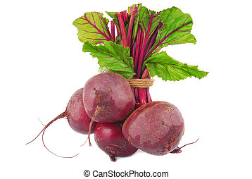 beetroot bunch isolated on white