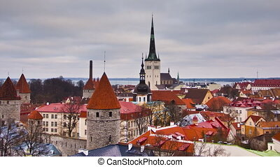 Tallinn Old Town, Estonia - View of the old town Tallinn,...