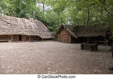 Wisz's farmstead - Ancient wooden farmstead in Biskupin...