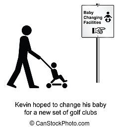 Baby changing - Kevin hoped for a good swap cartoon isolated...