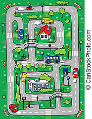 Road pattern - Pattern-labyrinth with roads, funny cars,...