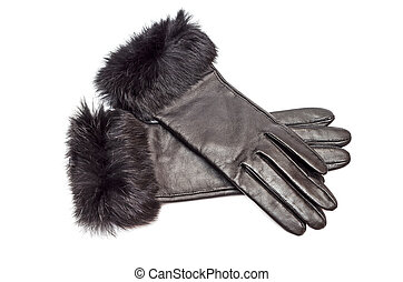 Leather gloves - Pair of leather gloves with fur isolated on...