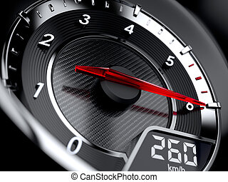 Tachometer - 3d illustration of car tachometer High speed...
