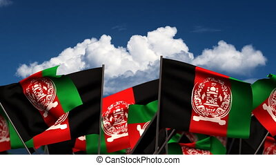 Waving Afghan Flags seamless alpha channel