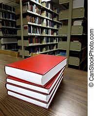Books on Table in Library