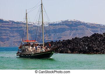 Nea Kameni Santorini - The volcanic island of Nea Kameni...