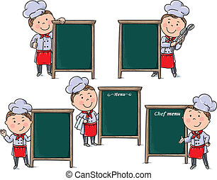 Chefs children with menu board. Contains transparent...