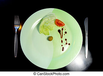 Big plate with a small piece of food - Big plate with a...