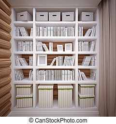 Bookcase - bookcase in the interior of  wooden house