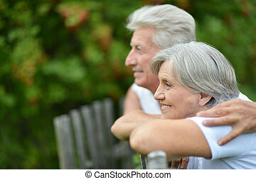 Elderly couple at countryside - Elderly couple near the...
