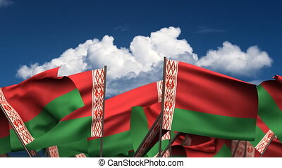 Waving Belarus Flags seamless alpha channel