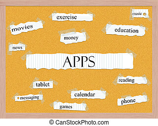 Apps Corkboard Word Concept