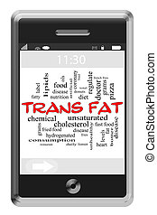 Trans Fat Word Cloud Concept on Touchscreen Phone - Trans...