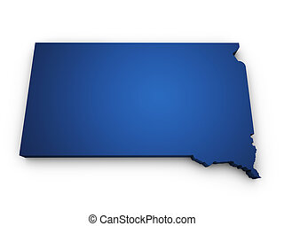 Map Of South Dakota 3d Shape - Shape 3d of South Dakota map...