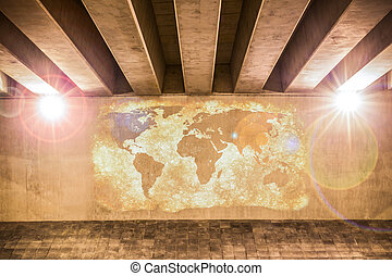 World map painted on a wall