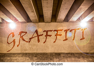Graffiti painted as graffiti on the support column of an...
