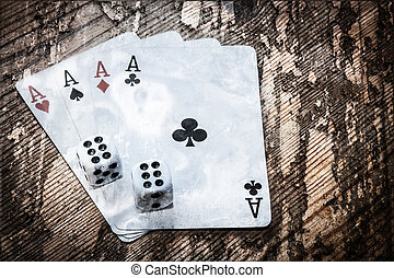 Four aces and double six - Four aces cards and double six...