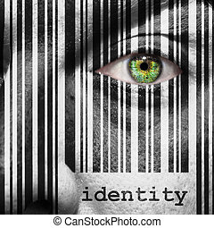 Barcode identity superimposed on a man's face - Barcode with...