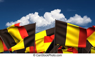 Waving Belgian Flags seamless alpha channel