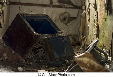 Old junk in derelict building - Some old junk in a state of...