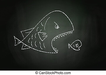 Big Fish Eating Small Fish, drawn with Chalk on Blackboard
