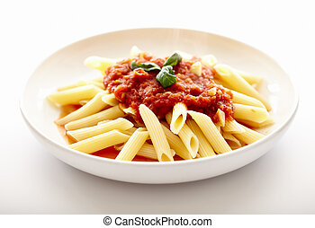 Traditional italian pasta with tomato sauce and basil -...