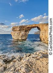 błękit, okno, Gozo, wyspa, malta
