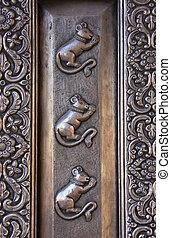Detail of silver door, Karni Mata Temple, Deshnok, India -...