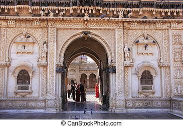 Marble facade of Karni Mata Temple, Deshnok, India - Marble...