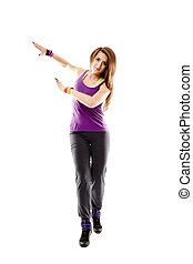 Young athletic woman doing dance moves - Studio shot of...