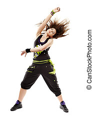 Young woman doing dance moves - Studio shot of young...