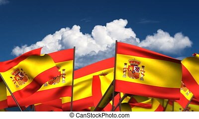 Waving Spanish Flags seamless alpha channel