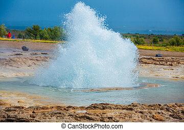 Iceland geyser - Strokkur Geyser in Iceland - The phase of...