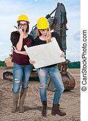 construction, ouvrier, femme